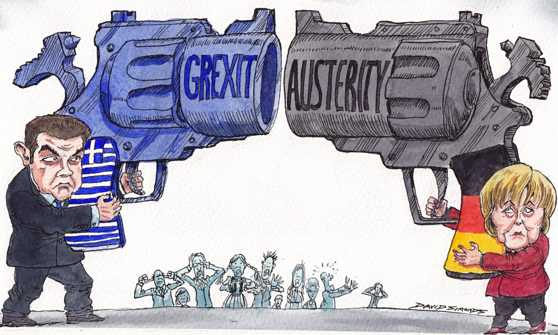Σκίτσο σε άρθρο του Guardian: Τσίπρας εναντίον Μέρκελ, ως πιστολάδες του Φαρ Ουέστ