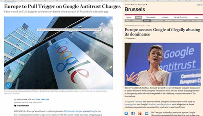 H Ε.Ε. άσκησε δίωξη σε βάρος της Google για κατάχρηση της δεσπόζουσας θέσης