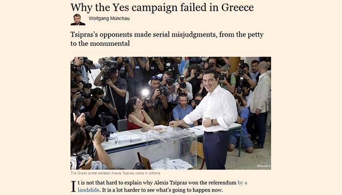 Financial Times: Γιατί απέτυχε η καμπάνια του «Ναι» στο δημοψήφισμα
