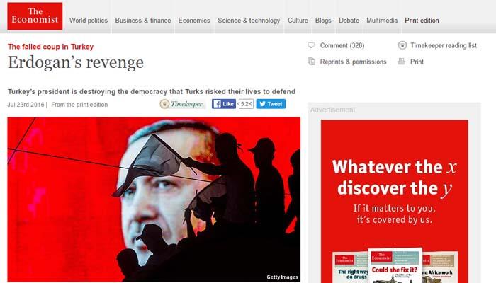 Economist: Ο Ερντογάν καταστρέφει τη δημοκρατία που οι Τούρκοι υπερασπίστηκαν με τη ζωή τους
