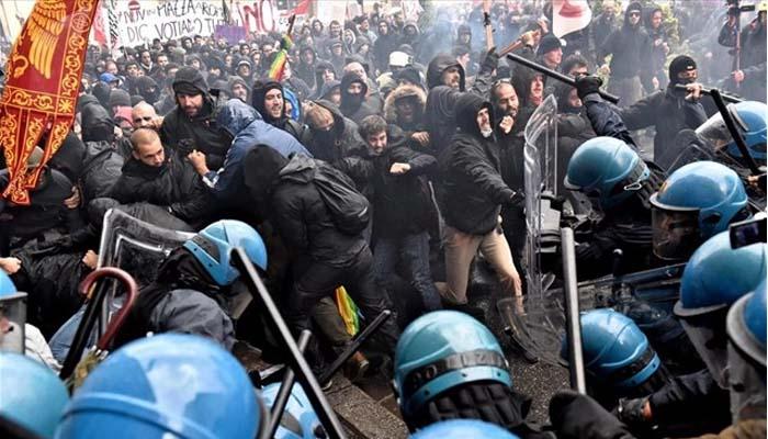 Συγκρούσεις αστυνομίας και διαδηλωτών στη Φλωρεντία σε Διαδήλωση κατά του Ρέντσι