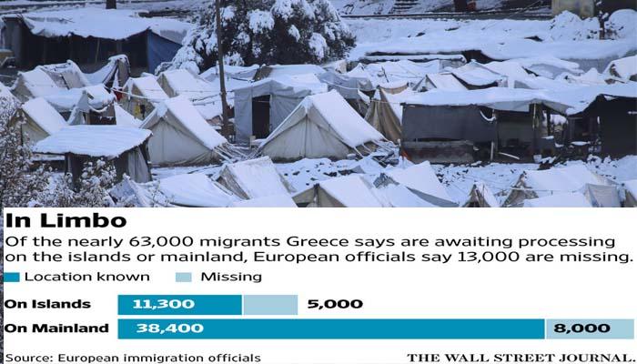 Wall Street Journal: Περίπου 13.000 πρόσφυγες έχουν χαθεί από χώρους φιλοξενίας στην Ελλάδα