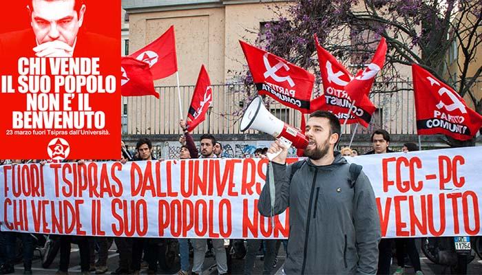 Μέτωπο Κομουνιστικής Νεολαίας Ιταλίας για Τσίπρα: Όποιος πουλάει τον λαό του δεν είναι ευπρόσδεκτος