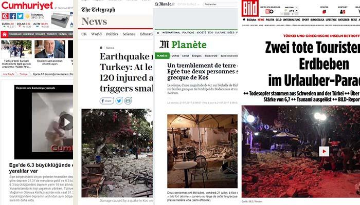 Ο διεθνής Τύπος για τον σεισμό στην Κω (πρωτοσέλιδα)