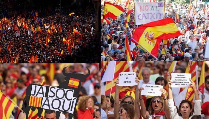 Βαρκελώνη: Διαδήλωση δεκάδων χιλιάδων ανθρώπων κατά της ανεξαρτησίας της Καταλονίας