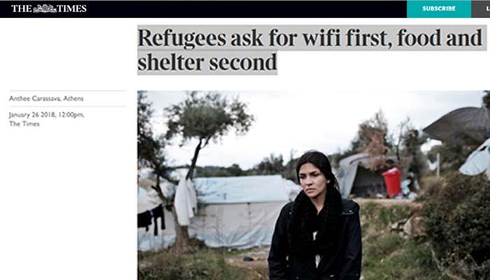 The Times: Οι πρόσφυγες ρωτούν πρώτα για το wi-fi και μετά για τρόφιμα και νερό