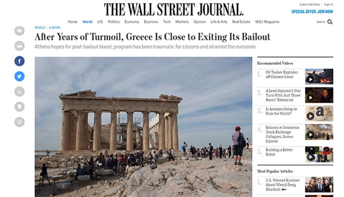 Wall Street Journal: Η Ελλάδα βρίσκεται κοντά στην έξοδο από την κρίση, αλλά πρέπει να κάνει πολλά