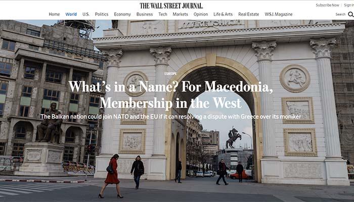 Wall Street Journal: Γιατί τώρα είναι ίσως η σωστή στιγμή να λυθεί το Σκοπιανό