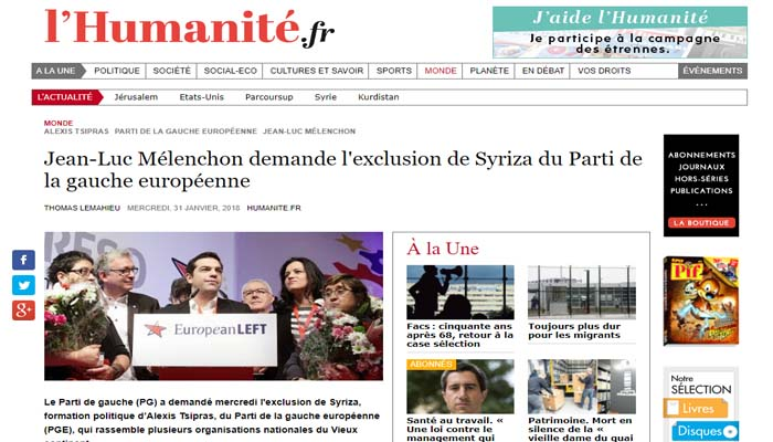 Την αποβολή του ΣΥΡΙΖΑ από την Ευρωπαϊκή Αριστερά ζητά ο Γάλλος αριστερός Ζαν-Λικ Μελανσόν