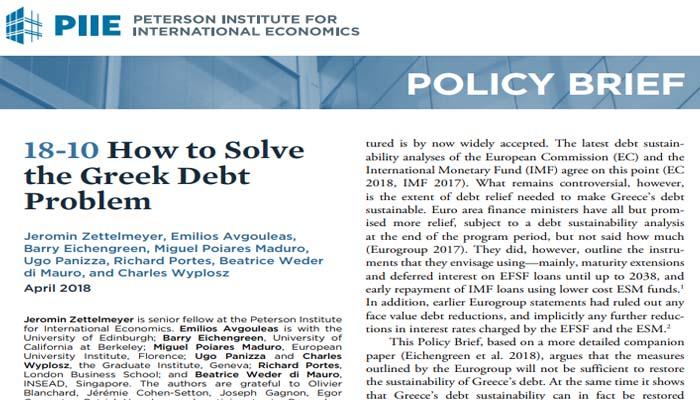 Ινστιτούτο Peterson: Αναποτελεσματικά τα μέτρα του Eurogroup για τη βιωσιμότητα του χρέους- Οι εναλλακτικές επιλογές