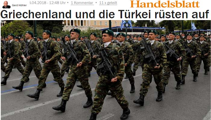 Handelsblatt: Η Ελλάδα και η Τουρκία ετοιμάζονται για νέα κούρσα εξοπλισμών