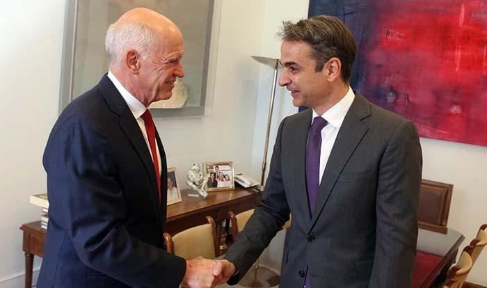 Συνάντηση Κ. Μητσοτάκη με τον Γ. Παπανδρέου για ζητήματα εξωτερικής πολιτικής