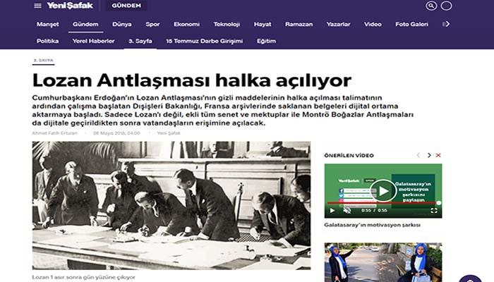 Yeni Safak: Ο Ερντογάν δημοσιεύει απόρρητα έγγραφα της Συνθήκης της Λωζάνης