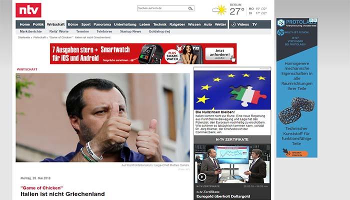 N-TV: Η Ιταλία δεν είναι Ελλάδα