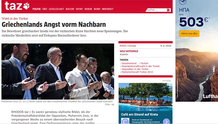 Tageszeitung: Οι εκλογές στην Τουρκία προκαλούν φόβο στην Ελλάδα