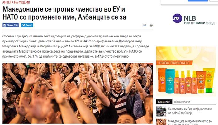 Δημοσκόπηση στα Σκόπια: Το 54,1% των σκοπιανών λέει «ΟΧΙ» στη Συμφωνία των Πρεσπών