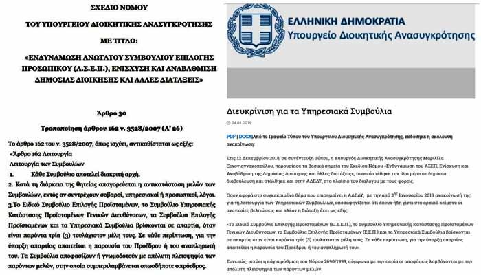 Το Υπουργείο Διοικητικής Ανασυγκρότησης κάνει πίσω για την πλειοψηφία των Υπηρεσιακών Συμβουλίων