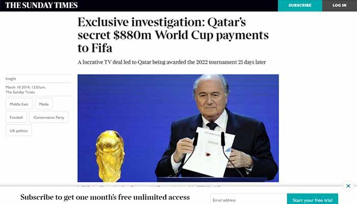 Σκάνδαλο στη FIFA: 1 δισ. δολάρια πλήρωσε το Κατάρ πριν δώσει το Μουντιάλ του 2022