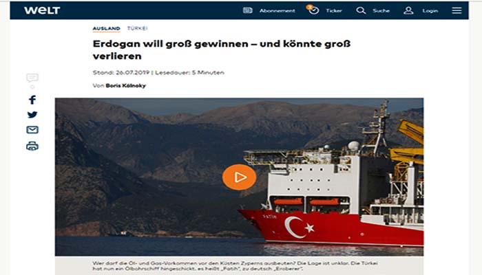 Die Welt: Ριψοκίνδυνα τα παιχνίδια του Ερντογάν στην Κύπρο, που μπορεί να γυρίσουν μπούμερανγκ