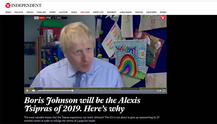 Independent: Ο Μπόρις Τζόνσον θα είναι ο Αλέξης Τσίπρας του 2019