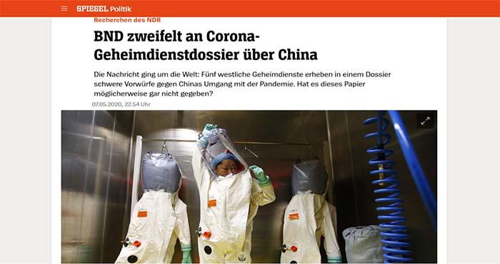 Der Spiegel: Οι γερμανικές μυστικές υπηρεσίες αμφισβητούν ότι ο κορωνοϊός προήλθε από κινεζικό εργαστήριο