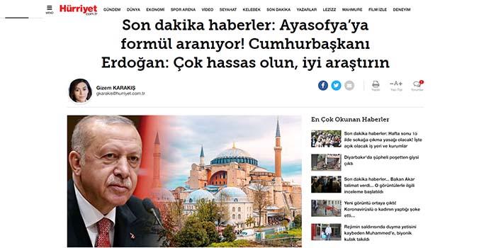 Hurriyet: Ο Ερντογάν ζητά η Αγιά Σοφιά να χαρακτηριστεί τζαμί