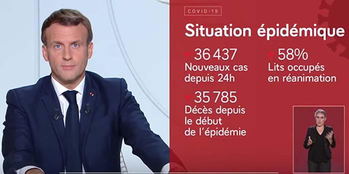 Ο πρόεδρος Μακρόν ανακοίνωσε εθνικό lockdown στη Γαλλία για έναν μήνα