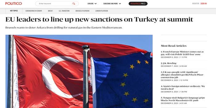 Το Politico για τη Σύνοδο Κορυφή: Προετοιμασία πρόσθετων κυρώσεων κατά της Τουρκίας θα ζητήσουν οι ηγέτες