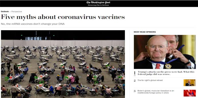 Washington Post: Οι πέντε μύθοι για τα εμβόλια κοροναϊού