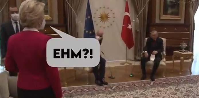 Ο Ερντογάν άφησε όρθια την Ούρσουλα φον ντερ Λάιεν, εξισώνοντας την με τον Τσαβούσογλου [Βίντεο]